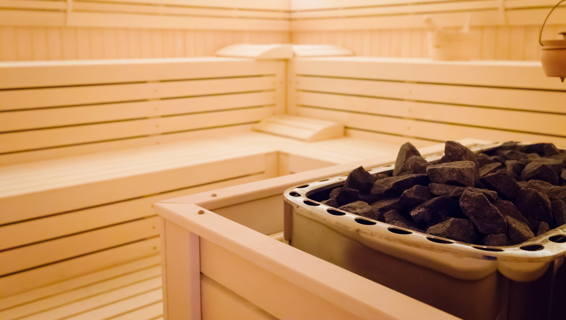 Inside view of a wood lined sauna