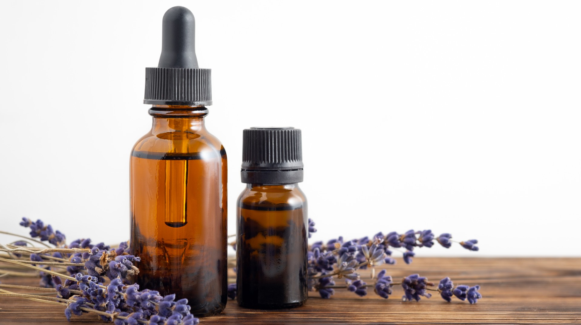 Essential oil bottles with lavender